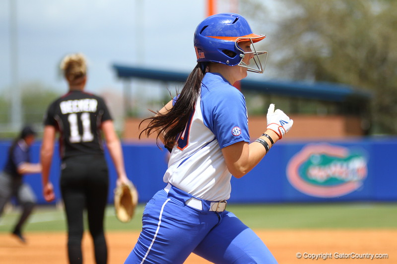 Kelsey Horton runs to first during Florida's 5-6 loss to Mississippi State on Sunday, April 8th 2013 at the Katie Seashole Pressly Softball Stadium in Gainesville, Florida.