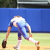 Jessica Damico just misses a ball during Florida's 5-6 loss to Mississippi State on Sunday, April 8th 2013 at the Katie Seashole Pressly Softball Stadium in Gainesville, Florida.