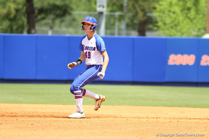 Taylor Schwarz on second base during Florida's 5-6 loss to Mississippi State on Sunday, April 8th 2013 at the Katie Seashole Pressly Softball Stadium in Gainesville, Florida.