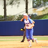 Taylor Schwarz celebrates after making a play at first during Florida's 5-6 loss to Mississippi State on Sunday, April 8th 2013 at the Katie Seashole Pressly Softball Stadium in Gainesville, Florida.