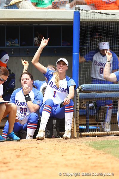 Aubree Munro during Florida's 5-6 loss to Mississippi State on Sunday, April 8th 2013 at the Katie Seashole Pressly Softball Stadium in Gainesville, Florida.