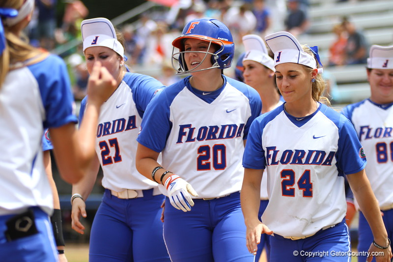 Kelsey Horton after her home run during Florida's 5-6 loss to Mississippi State on Sunday, April 8th 2013 at the Katie Seashole Pressly Softball Stadium in Gainesville, Florida.