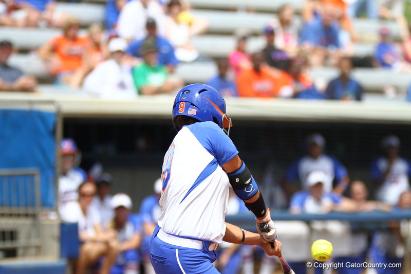 Stephanie Tofft bats during Florida's 5-6 loss to Mississippi State on Sunday, April 8th 2013 at the Katie Seashole Pressly Softball Stadium in Gainesville, Florida.