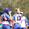 Meeting at the mound during Florida's 5-6 loss to Mississippi State on Sunday, April 8th 2013 at the Katie Seashole Pressly Softball Stadium in Gainesville, Florida.