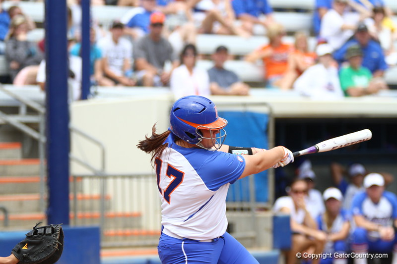 Lauren Haeger bats during Florida's 5-6 loss to Mississippi State on Sunday, April 8th 2013 at the Katie Seashole Pressly Softball Stadium in Gainesville, Florida.