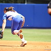 Jessica Damico just misses a ground ball during Florida's 5-6 loss to Mississippi State on Sunday, April 8th 2013 at the Katie Seashole Pressly Softball Stadium in Gainesville, Florida.