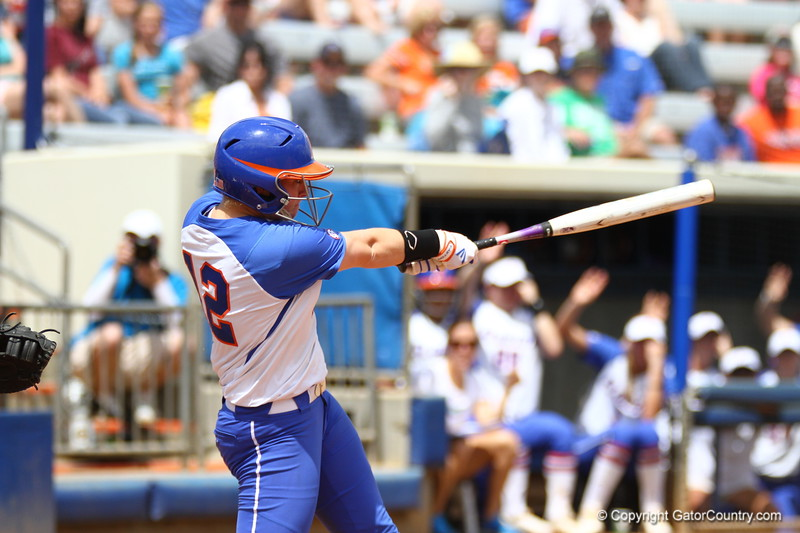 Taylore Fuller hits a grand slam during Florida's 5-6 loss to Mississippi State on Sunday, April 8th 2013 at the Katie Seashole Pressly Softball Stadium in Gainesville, Florida.