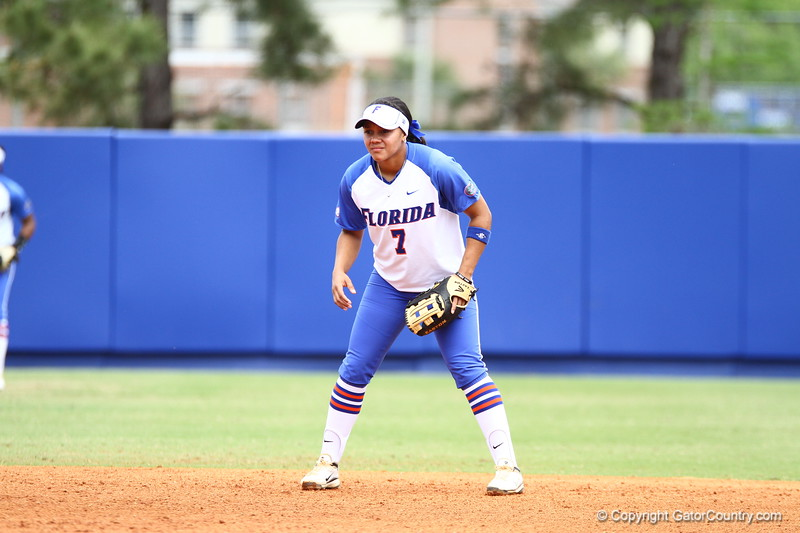 Kelsey Stewart gets ready during Florida's 5-6 loss to Mississippi State on Sunday, April 8th 2013 at the Katie Seashole Pressly Softball Stadium in Gainesville, Florida.