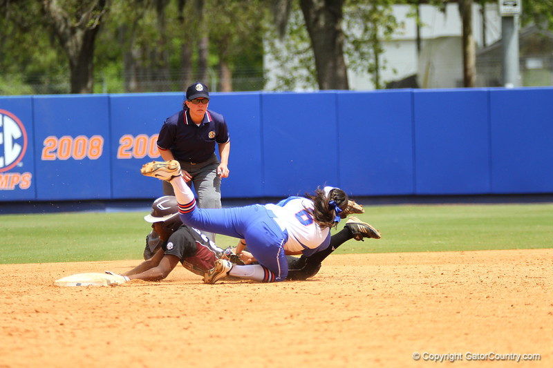 Kathlyn Medina makes a play at second base during Florida's 5-6 loss to Mississippi State on Sunday, April 8th 2013 at the Katie Seashole Pressly Softball Stadium in Gainesville, Florida.
