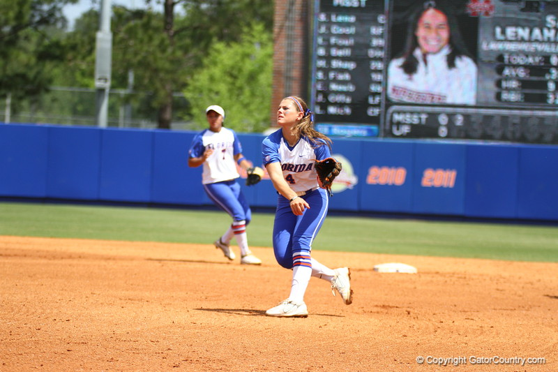 Jessica Damico throws to home during Florida's 5-6 loss to Mississippi State on Sunday, April 8th 2013 at the Katie Seashole Pressly Softball Stadium in Gainesville, Florida.