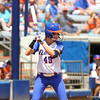 Taylor Schwarz bats during Florida's 5-6 loss to Mississippi State on Sunday, April 8th 2013 at the Katie Seashole Pressly Softball Stadium in Gainesville, Florida.