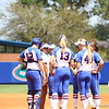 Team meeting on the mound during Florida's 5-6 loss to Mississippi State on Sunday, April 8th 2013 at the Katie Seashole Pressly Softball Stadium in Gainesville, Florida.