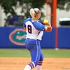 Alyssa Bache throws to first during Florida's 5-6 loss to Mississippi State on Sunday, April 8th 2013 at the Katie Seashole Pressly Softball Stadium in Gainesville, Florida.