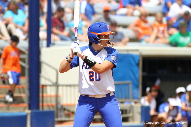 Kelsey Horton gets ready for the pitch during Florida's 5-6 loss to Mississippi State on Sunday, April 8th 2013 at the Katie Seashole Pressly Softball Stadium in Gainesville, Florida.