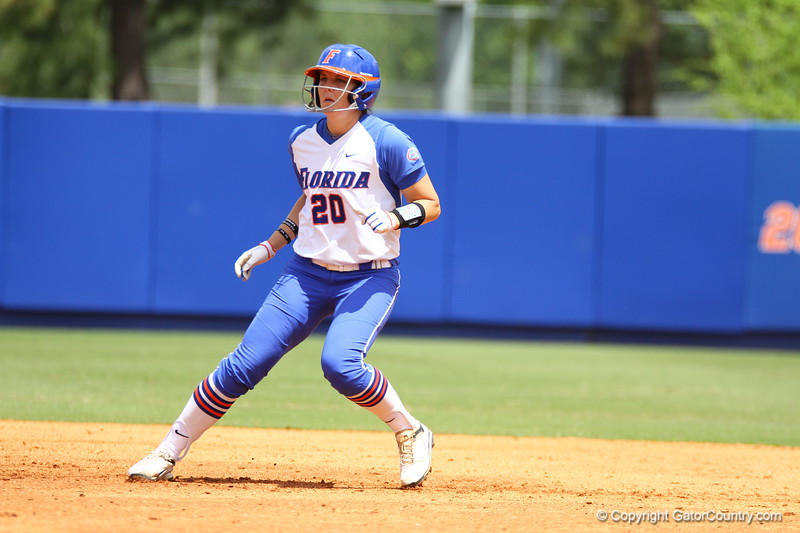 Kelsey Horton watches the pitch during Florida's 5-6 loss to Mississippi State on Sunday, April 8th 2013 at the Katie Seashole Pressly Softball Stadium in Gainesville, Florida.