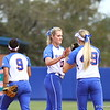 Hannah Rogers, Taylor Schwarz and Stephanie Tofft celebrate a strikeout during Florida's 5-6 loss to Mississippi State on Sunday, April 8th 2013 at the Katie Seashole Pressly Softball Stadium in Gainesville, Florida.