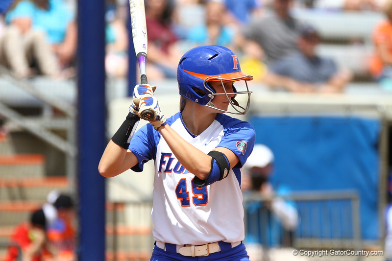 Taylor Schwarz during Florida's 5-6 loss to Mississippi State on Sunday, April 8th 2013 at the Katie Seashole Pressly Softball Stadium in Gainesville, Florida.