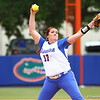 Lauren Haeger pitches during Florida's 5-6 loss to Mississippi State on Sunday, April 8th 2013 at the Katie Seashole Pressly Softball Stadium in Gainesville, Florida.