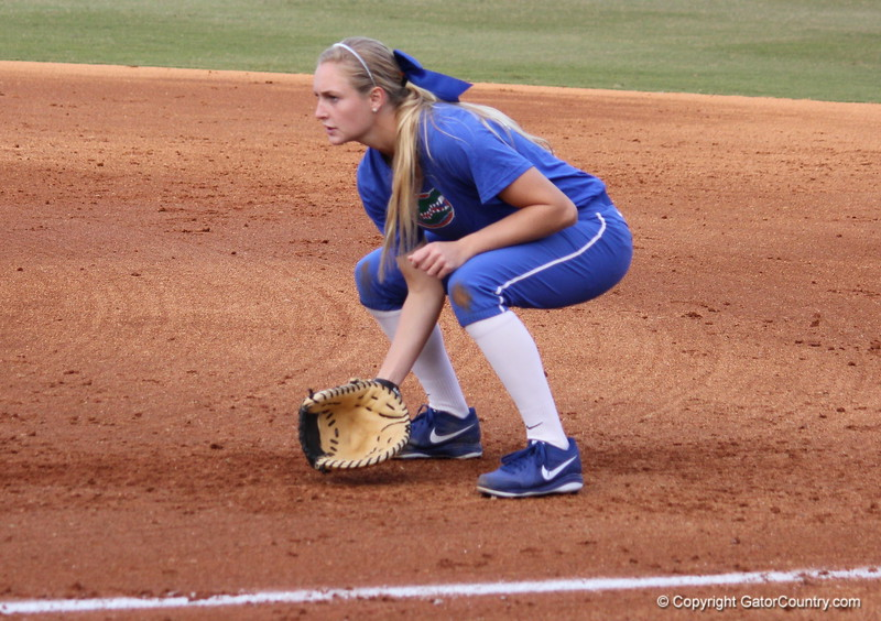 Freshman Taylor Schwarz preparing to catch a ball during the Gators' scrimmage on Tuesday, February 5, 2013 at Katie Seashole Pressly Stadium in Gainesville, Fla.