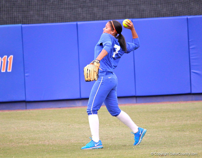 Freshman Kelsey Stewart warming up during Gators' scrimmage on Tuesday, February 5, 2013 at Katie Seashole Pressly Stadium in Gainesville, Fla.