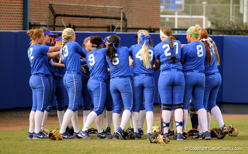 The Gator's softball team gator chomping prior to entering the field during the Gators' scrimmage on Tuesday, February 5, 2013 at Katie Seashole Pressly Stadium in Gainesville, Fla.