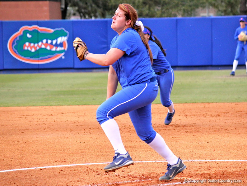 Lauren Haeger pitching during the Gators' scrimmage on Tuesday, February 5, 2013 at Katie Seashole Pressly Stadium in Gainesville, Fla.