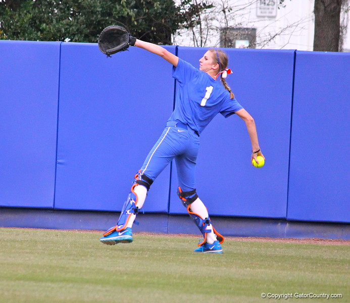 Freshman Aubree Munro warming up during the Gators' scrimmage on Tuesday, February 5, 2013 at Katie Seashole Pressly Stadium in Gainesville, Fla.