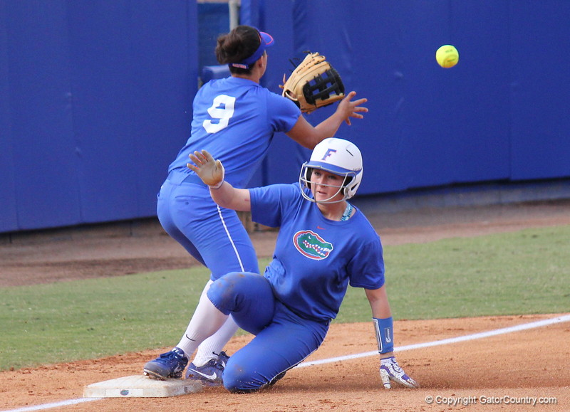 True freshman Taylore Fuller sliding into third during the Gators' scrimmage on Tuesday, February 5, 2013 at Katie Seashole Pressly Stadium in Gainesville, Fla.