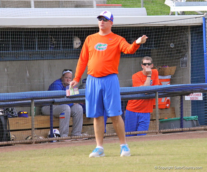 Head coach Tim Walton coaching from the sidelines during the Gators' scrimmage on Tuesday, February 5, 2013 at Katie Seashole Pressly Stadium in Gainesville, Fla.