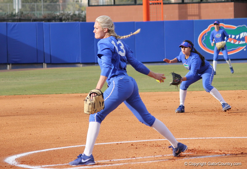 Junior Hannah Rogers throwing the first pitch of the game during the Gators' scrimmage on Tuesday, February 5, 2013 at Katie Seashole Pressly Stadium in Gainesville, Fla.