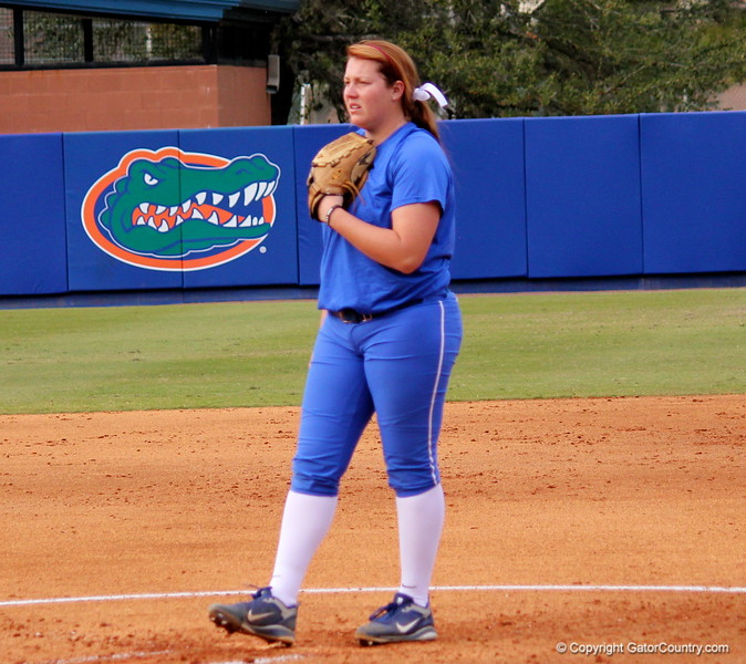 Sophomore Lauren Haeger focusing before pitching the ball during the Gators' scrimmage on Tuesday, February 5, 2013 at Katie Seashole Pressly Stadium in Gainesville, Fla.