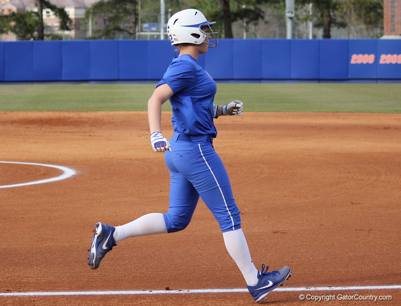 Freshman Taylore Fuller running to first base during the Gators' scrimmage on Tuesday, February 5, 2013 at Katie Seashole Pressly Stadium in Gainesville, Fla.