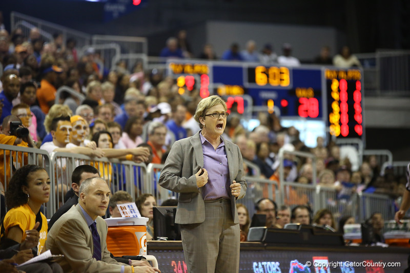 Tennessee Coach Holly Warlick during the Florida Gators 75-78 overtime loss to Tennessee on Sunday, Jan. 13, 2012, at the Stephen C. O'Connell Center in Gainesville, Fla. / Gator Country photo by Curtiss Bryant during the Florida Gators 75-78 overtime loss to Tennessee on Sunday, Jan. 13, 2012, at the Stephen C. O'Connell Center in Gainesville, Fla. / Gator Country photo by Curtiss Bryant