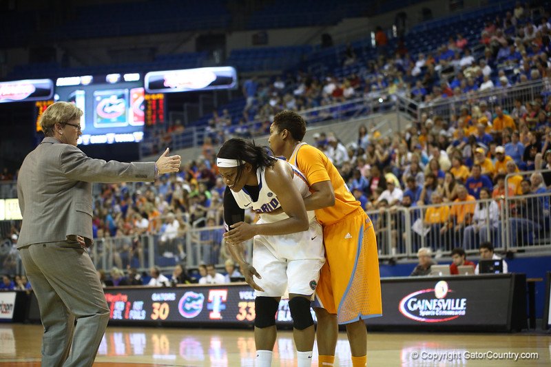 Jennifer George re-injures her shoulder during the Florida Gators 75-78 overtime loss to Tennessee on Sunday, Jan. 13, 2012, at the Stephen C. O'Connell Center in Gainesville, Fla. / Gator Country photo by Curtiss Bryant during the Florida Gators 75-78 overtime loss to Tennessee on Sunday, Jan. 13, 2012, at the Stephen C. O'Connell Center in Gainesville, Fla. / Gator Country photo by Curtiss Bryant