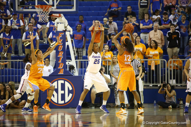 Christin Mercer during the Florida Gators 75-78 overtime loss to Tennessee on Sunday, Jan. 13, 2012, at the Stephen C. O'Connell Center in Gainesville, Fla. / Gator Country photo by Curtiss Bryant during the Florida Gators 75-78 overtime loss to Tennessee on Sunday, Jan. 13, 2012, at the Stephen C. O'Connell Center in Gainesville, Fla. / Gator Country photo by Curtiss Bryant