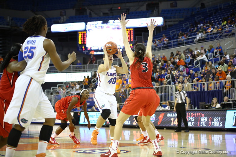 Sydney Moss during Florida's 57-62 loss to Georgia on February 17, 2013 at the Stephen C O'Connell Center in Gainesville, Florida. Pictures taken by Curtiss Bryant for Gatorcountry.com