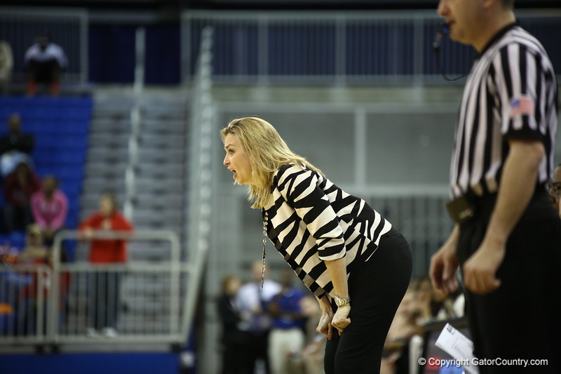 Coach Amanda Butler during Florida's 57-62 loss to Georgia on February 17, 2013 at the Stephen C O'Connell Center in Gainesville, Florida. Pictures taken by Curtiss Bryant for Gatorcountry.com