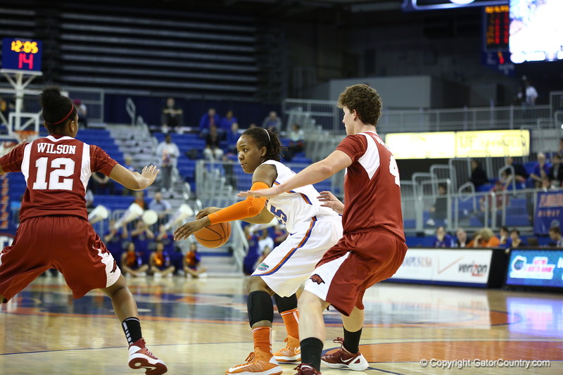 Christin Mercer during Florida's 69-58 win over Arkansas on February 28, 2013 at the Stephen C O'Connell Center in Gainesville, Florida.