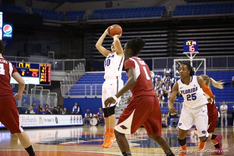 Sydney Moss during Florida's 69-58 win over Arkansas on February 28, 2013 at the Stephen C O'Connell Center in Gainesville, Florida.