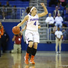 Carlie Needles calls the play during Florida's 69-58 win over Arkansas on February 28, 2013 at the Stephen C O'Connell Center in Gainesville, Florida.