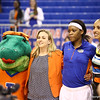 Jennifer George, Coach Amanda Butler and Alberta on senior night during Florida's 69-58 win over Arkansas on February 28, 2013 at the Stephen C O'Connell Center in Gainesville, Florida.