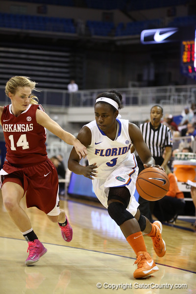 January Miller during Florida's 69-58 win over Arkansas on February 28, 2013 at the Stephen C O'Connell Center in Gainesville, Florida.