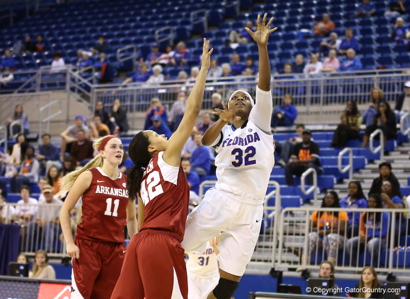 JEnnifer George during Florida's 69-58 win over Arkansas on February 28, 2013 at the Stephen C O'Connell Center in Gainesville, Florida.