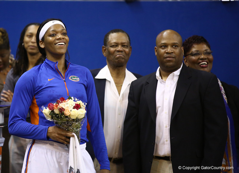 Jennifer George being introduced on senior night during Florida's 69-58 win over Arkansas on February 28, 2013 at the Stephen C O'Connell Center in Gainesville, Florida.