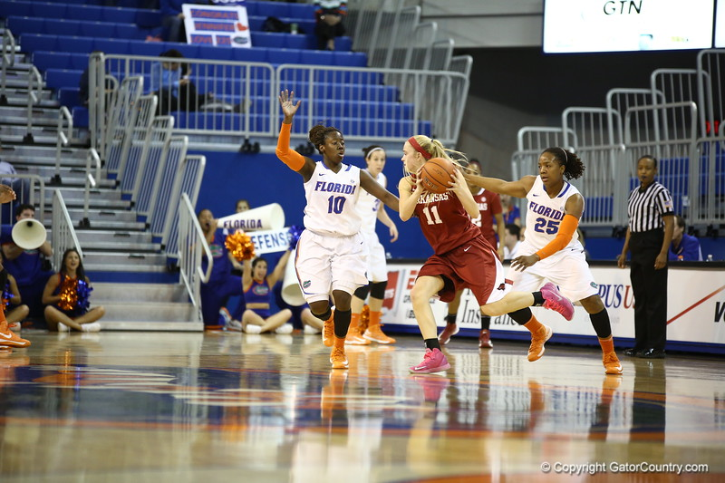 Jaterra Bonds and Christin Mercer during Florida's 69-58 win over Arkansas on February 28, 2013 at the Stephen C O'Connell Center in Gainesville, Florida.