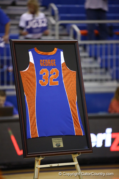 Jennifer George's jersey on senior night during Florida's 69-58 win over Arkansas on February 28, 2013 at the Stephen C O'Connell Center in Gainesville, Florida.