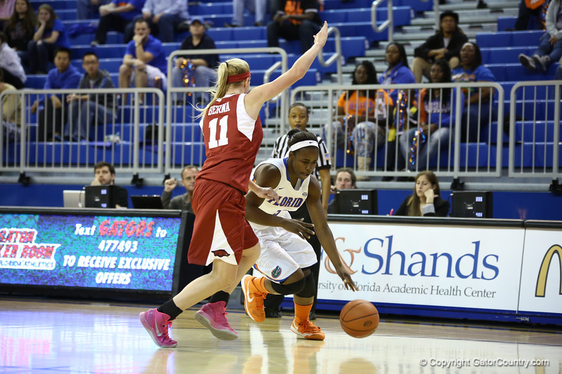 January Millers dribbles by a defender during Florida's 69-58 win over Arkansas on February 28, 2013 at the Stephen C O'Connell Center in Gainesville, Florida.