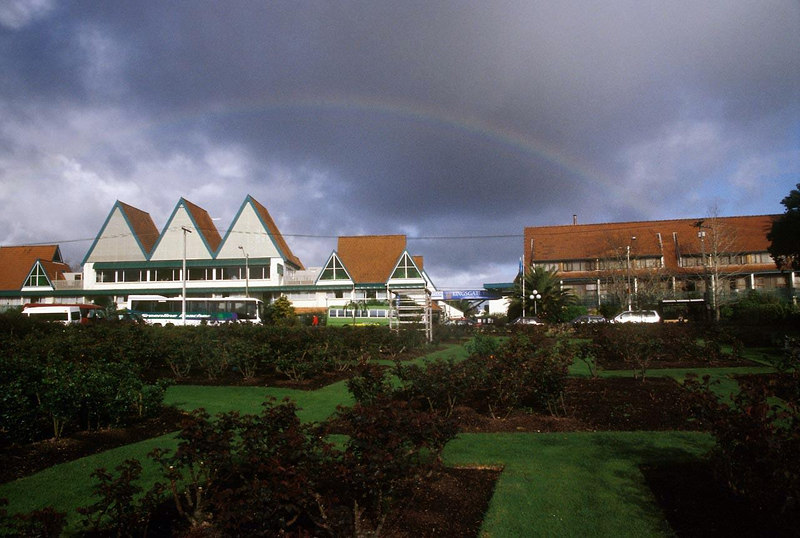 Our first hotel on the trip, with rose garden in front and rainbow over.