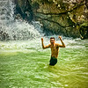 Cooling off at Titi Kerawang waterfall