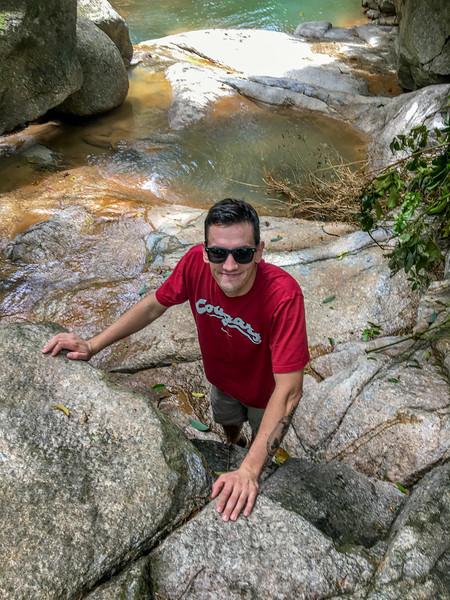 Gavin enjoying the Titi Kerawang waterfalls